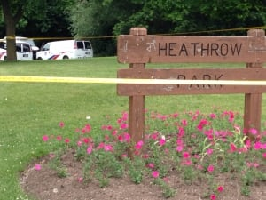 Police on the scene at Heathrow Park