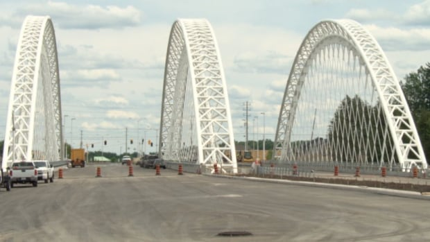 The Strandherd-Armstrong Bridge appears near completion on June 23, 2014.