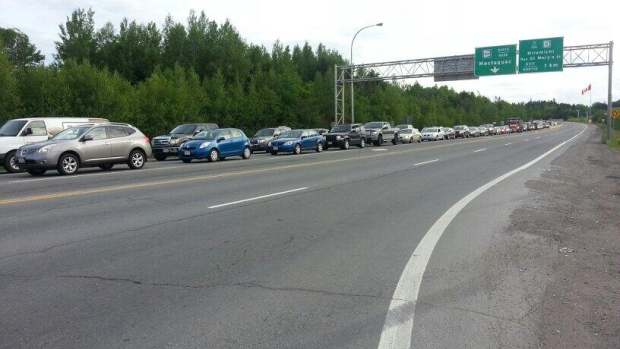 Traffic was lined up as far as the eye could see on the Ring Road at about 7:30 a.m. Tuesday.