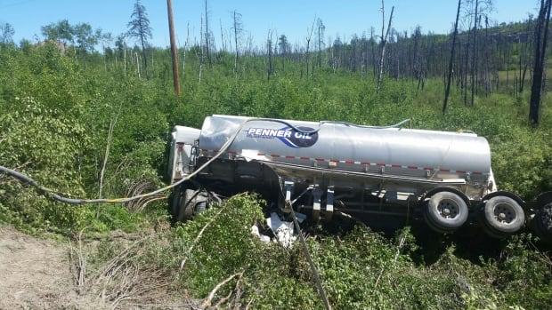 A tanker truck transporting gasoline crashed near Missinipe, Sask.