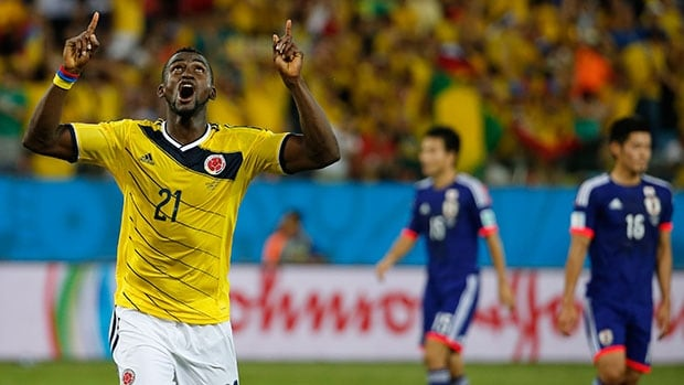 Colombia's Jackson Martinez celebrates after scoring his second goal en route to a victory over Japan in Group C on Tuesday.