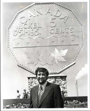 A younger Ted Szilva in front of the Big Nickel