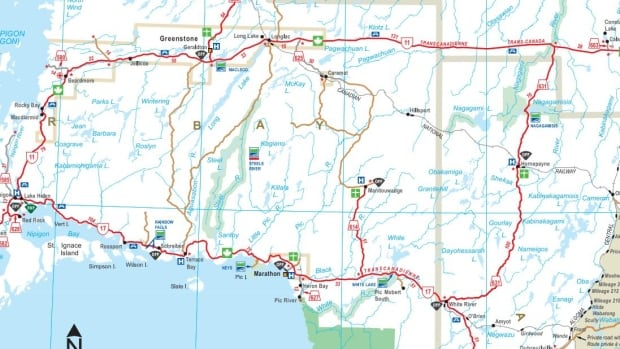 The Ministry of Transportation suggests travellers between Nipigon and White River detour on Highway 11 and Highway 631 because of the closure at the Jackfish River bridge, east of Nipigon. The detour is more than 560 km long.