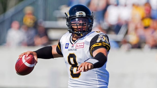 Hamilton Tiger-Cats quarterback Jeremiah Masoli looks to make a pass during a CFL game in 2013.