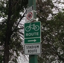 Stadium route signs