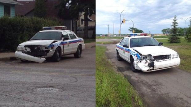 At least two police cruisers were damaged during the incident involving an erratic driver.