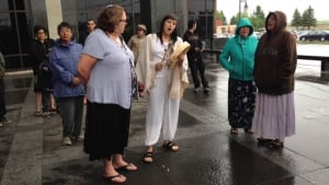 Shale gas protesters Germain Jr. Breau and Aaron Rene Francis had several supporters at court