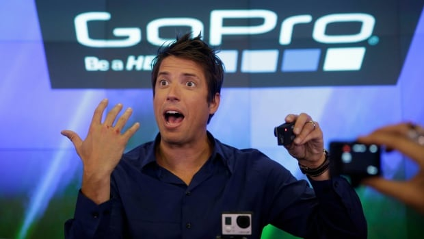 GoPro's CEO Nick Woodman is filmed by multiple GoPro cameras as he celebrates his company's IPO on Nasdaq this morning.