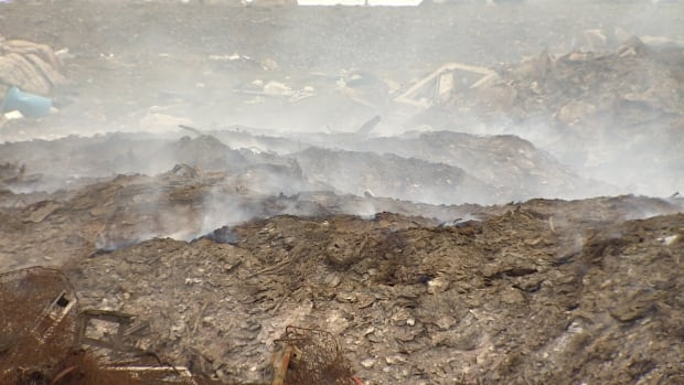 A close-up view of Iqaluit's dump fire on June 26.