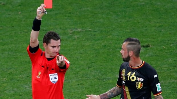 Belgium's Steven Defour gets red-carded in his team's final Group stage match against South Korea.
