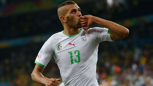 Algeria's Islam Slimani celebrates after scoring a goal at the FIFA World Cup in Brazil.