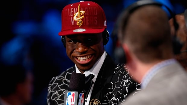 Andrew Wiggins of Vaughan, Ont., is interviewed by NBA TV after being selected No. 1 overall in the NBA draft on Thursday.