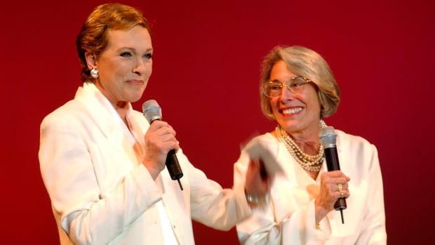 Author and stage composer Mary Rodgers is seen at right with Oscar-winner Julie Andrews at a 2002 Hollywood tribute to her Broadway icon father, Richard Rodgers.