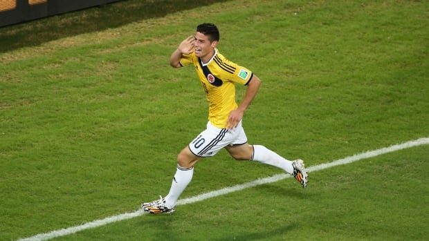 James Rodriguez of Colombia celebrates scoring his team's fourth goal during the 2014 FIFA World Cup Brazil Group C match against Japan on June 24.  Rodriguez will be counted on for more heroics when his Colombian team takes on Uruguay on Saturday.