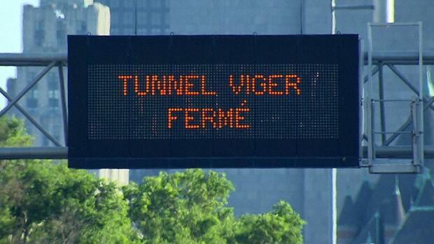 Viger Tunnel was closed on Friday after it was discovered that construction work had damaged a support beam inside the tunnel.
