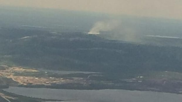 A photo of the smoke from a fire near Labrador City, seen from a flight heading to Newfoundland from Labrador.
