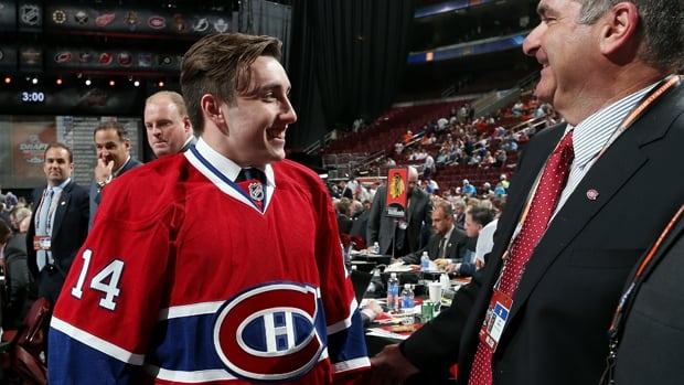 Daniel Audette meets Canadiens management after being selected 147th overall in the NHL draft in Philadelphia on Saturday.
