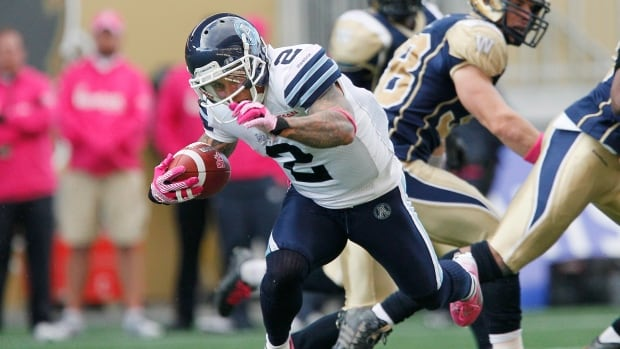 Toronto Argonauts' Chad Owens runs against Winnipeg during an Oct. 19, 2013 game.