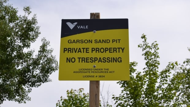 At its Garson sand pit, Vale has created berms around the sand pit to stop vehicles from getting in, and has put in a locked gate and lots of 'no trespassing' signs.