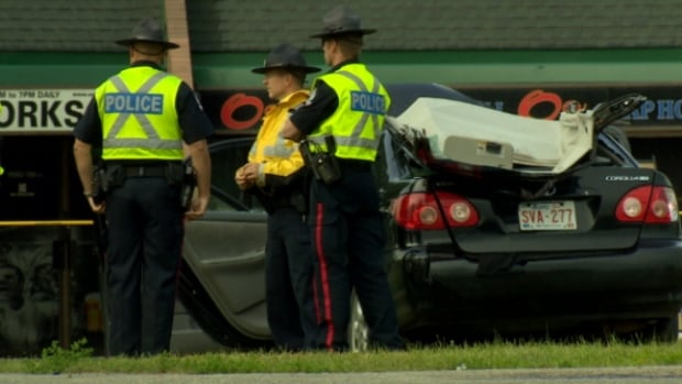Police say charges are pending after a collision between a car and truck sent two women to hospital Monday morning.