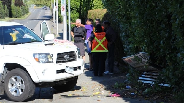 Two women waiting at a bus stop in the Fleetwood-Newton border area in Surrey, B.C., were injured when a pickup truck plowed into them Monday morning.
