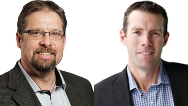 Conservatives David Yurdiga (left) and John Barlow were elected in Fort McMurray/Athabasca and McLeod respectively on Monday.