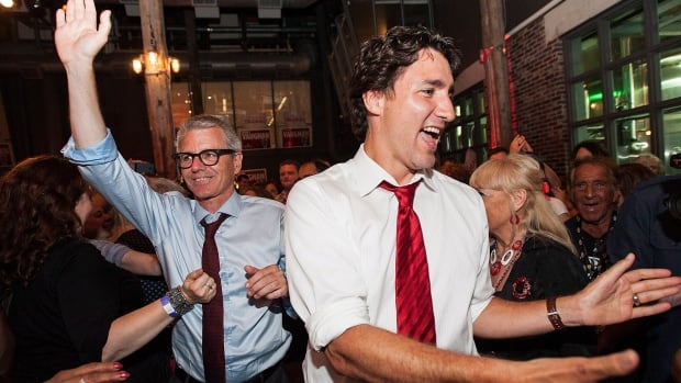 Liberal Adam Vaughan celebrates his by-election win in the Trinity-Spadina riding with Liberal Leader Justin Trudeau at the Steam Whistle Brewery in Toronto.