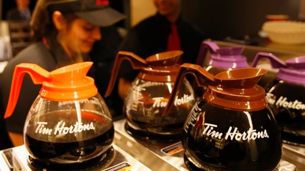 Tim Hortons says profit was flat, but same-store sales in Canada edged upwards.