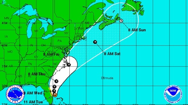 Tropical Arthur is heading for the Maritimes. This chart from the U.S. National Hurricane Center shows its projected path as of Tuesday.