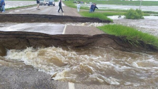 Roads and culverts have collapsed in a number of areas in southeast Saskatchewan due to torrential rains on the weekend. This section of Highway 2 is washed out just south of Imperial, Sask.