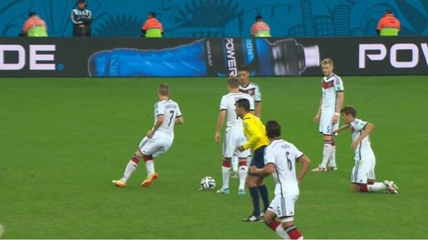 Thomas Muller says pretending to trip while taking a free kick is a set play the Germans have been working on.