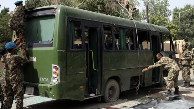 The Taliban has claimed responsibility for a suicide attack on an Afghan air force base that killed eight soldiers. The attacker targeted a bus, but was unable to physically board the vehicle before detonating the explosive.