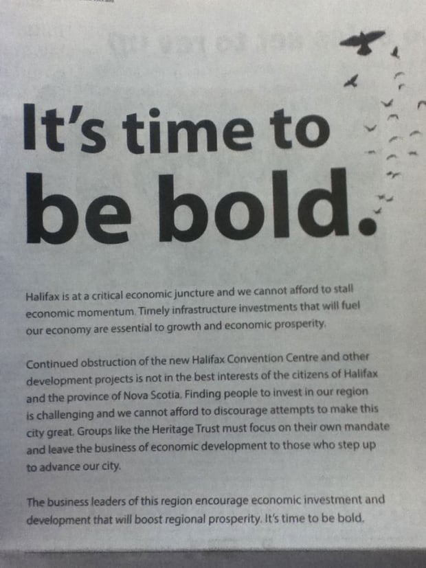 The Chronicle Herald ad calls for a bold approach.