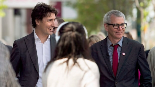 Federal Liberal Leader Justin Trudeau, left, and Trinity-Spadina candidate Adam Vaughan, are pictured in Toronto on May 22, prior to Vaughan being chosen as the riding's MP.