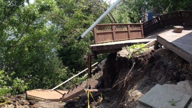 Soil erosion has caused extensive damage to cottage property at Grandview Beach on Last Mountain Lake.