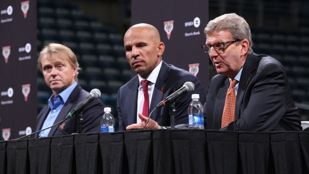 Jason Kidd, middle, is introduced as the new head coach of the Bucks at the BMO Bradley Center in Milwaukee on Wednesday.