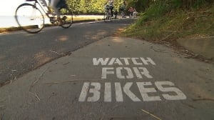 Watch for Bikes - Vancouver's Stanley Park Seawall