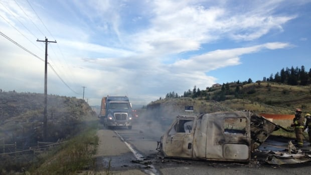 Two semi trucks caught fire after colliding on Highway 3 near Osoyoos Wednesday afternoon.