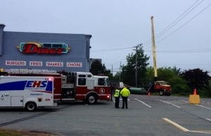 Boom truck hits power line in Bedford