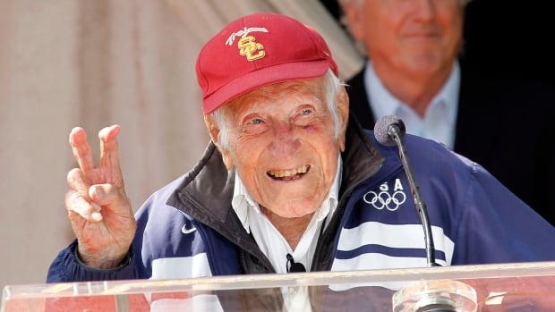 Second World War hero and former Olympian Louis Zamperini, seen in Pasadena, Calif. in May, had been named grand marshal of the 2015 Rose Parade.