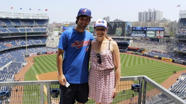 Gabriel Morissette and Adry Laurin at New York City's Yankee Stadium. They are on a mission to visit every major league baseball stadium in North America as an homage to Montreal's former baseball team, the Expos.