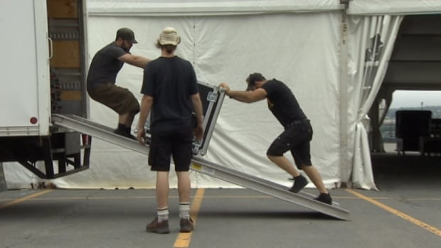 Halifax Jazz Festival crews get things ready on Thursday.
