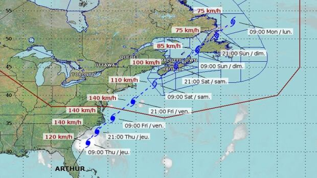 Hurricane Arthur track