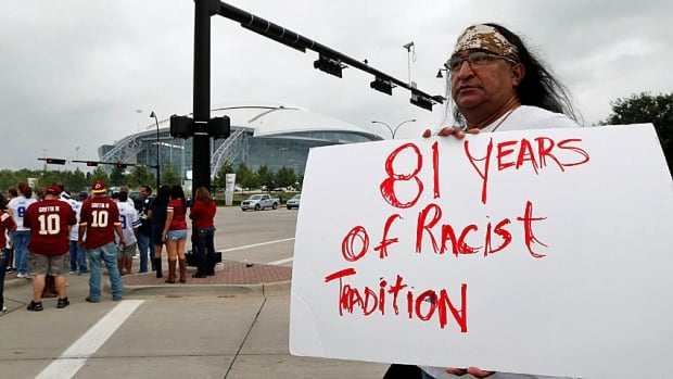 "As protests by the American Indian Movement and others grow, including during last year's NFL Super Bowl, the U.S. Patent Office ruled in June 2014 that the Washington Redskins name is ""disparaging of Native Americans"" and that the team's federal trademarks for the name must be cancelled."