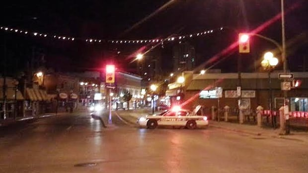 Police block the northbound lanes of Osborne Street early Friday.