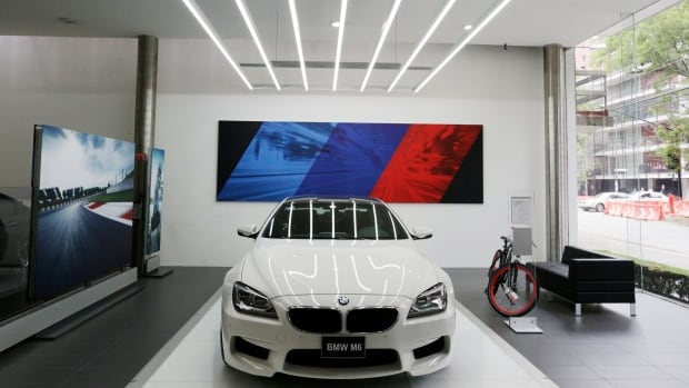 A BMW car is seen inside a BMW car dealership in Mexico City this week. The company will soon make an assembly plant in the country.