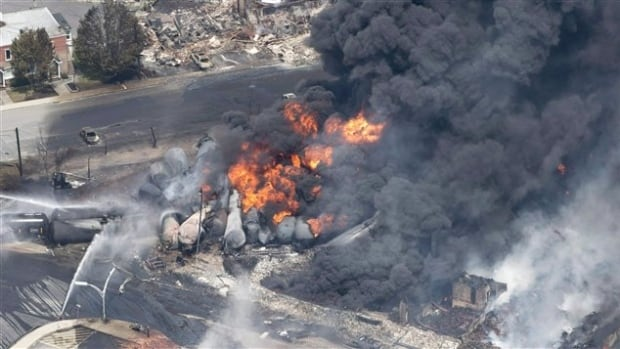 An unattended freight train carrying crude oil derailed, resulting in the fire and deadly explosion that killed 47 people in Lac-Mégantic, Quebec, in July 2013.