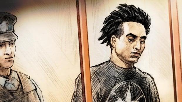 A court illustration of Brandon Michael Smith.