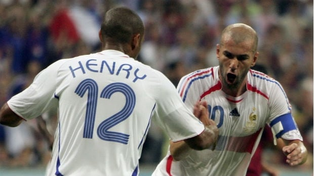 Zinedine Zidane, right, and French teammate Thierry Henry, along with the rest of the French 2006 World Cup team, inspired a Brazilian man to name his son after several players.