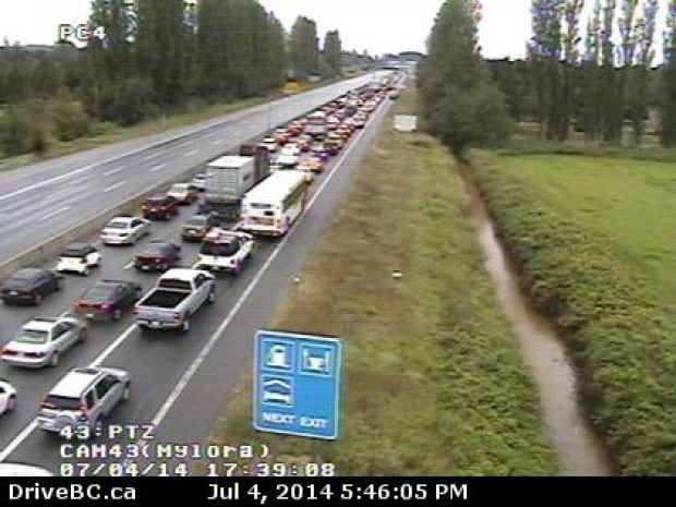 Highway 99 looking south from Steveston Highway showing massive traffic backup
